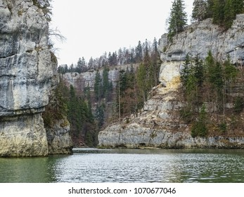 Stone formations near saut du doubs waterfall in the region of doubs switzerland