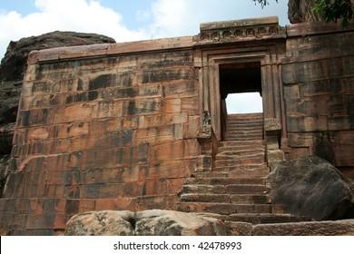 Stone fort wall, entrance and stairs at Badami, Karnataka, India, Asia