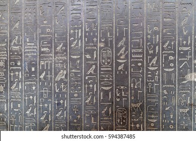 Stone found in ancient Egypt showing hierogliphs in low graving