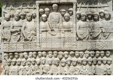 Stone frieze sculpture of the Byzantine Emperor Theodosius showing him in a crowd watching a race at the hippodrome in Istanbul, Turkey.