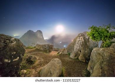 Stone Garden Geopark Taken at Moonset. Padalarang, Bandung, West