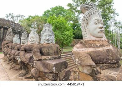 Stone Gate of Angkor Thom in Cambodia