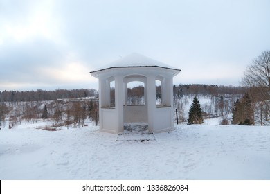 Stone gazebo in the edge of hill. Toila, Estonia, winter time.