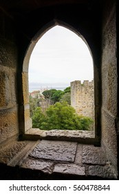 Stone Gothic window of an European castle
