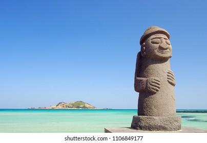 Stone Grandfather and beautiful sea scenery - Jeju Island, Korea