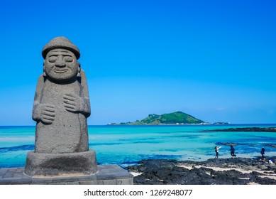 Stone Grandfather and beautiful sea scenery - Jeju Island, South Korea.