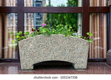 Stone gray flowerpot with flowers in front of a glass door