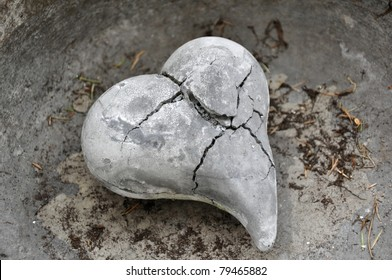 A Stone Heart broken by Frost, Ice, Time and Weather