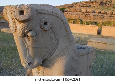 Stone horse figure in the ancient capital of Persia (Iran), the city of Persepolis