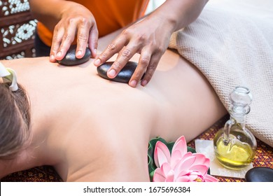 stone with hot fragrance oil aroma therapy massage for relaxing.