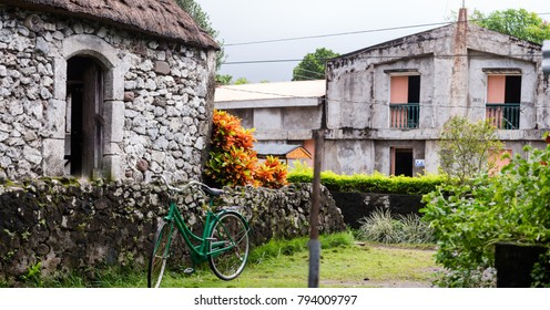 Stone house with cogon roof in Batanes, Philippines.