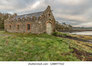 Stone house and Strangford lough, Northern Ireland, UK