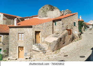 Stone houses and nerrow historical streets in Monsanto village, Portugal