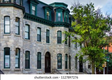 Stone houses on Spring Garden Street, in Philadelphia, Pennsylvania.