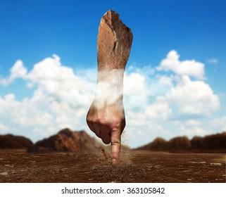 Stone human hand