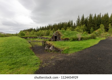 Stone hut with grass roof in Reykholt. Iceland