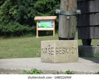 """Stone with inscription """"Our Beskydy"""" , Frenštát pod Radhoštěm, Beskydy region, Czech Republic"""