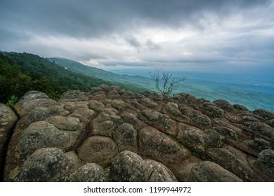 Stone in Lan Hin Pum at Phu Hin Rong Kla National Park Nakorn Thai District, Phitsanulok Province,Thailand.
