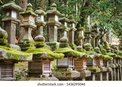Stone lantern of Kasugataisha shrine (Kasuga-taisha) in Nara public park, Nara, Japan.