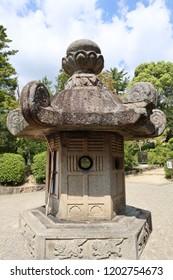 Stone lantern at Toshodaiji Temple in Nara, Japan