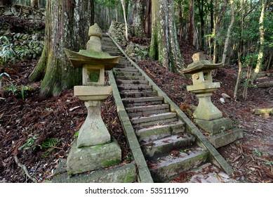 Stone lanterns at Kumano Kodo, the sacred historical pilgrimage route in Kansai, Japan