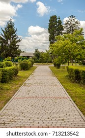 Stone lined path in the park