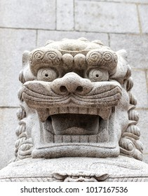 A Stone Lion statue in Hong Kong
