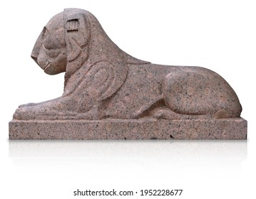 Stone lion statue isolated on white background. Design element with clipping path