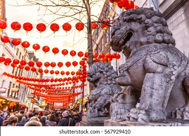 Stone lions as London Soho, Chinese new year