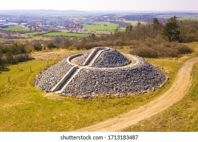 Stone lookout mound on hill Slovicky vrch. Popular hiking place and tourist attraction in outdoor park near city Dobrany. West Bohemia, Czech republic, European union.