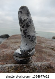 a stone looks like a penis or phallus, found at the baltic sea