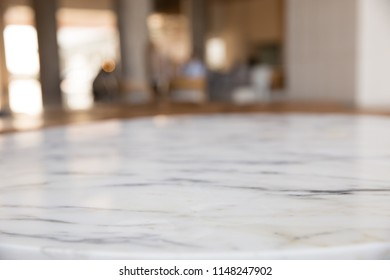 Stone marble table top and blur blackground. Blank copy space for montage product display.