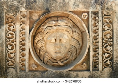 Stone mask in Myra (Turkey )