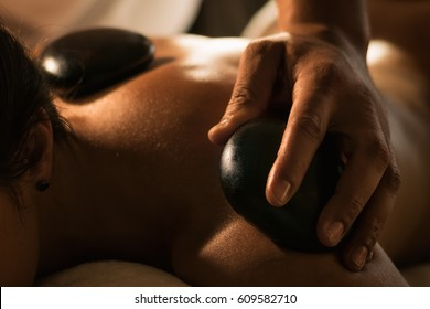 Stone massage closeup