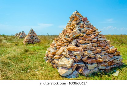 stone mohylas marking border of the yaylata natual reserve in Bulgaria