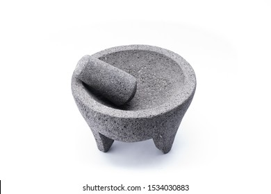 Stone molcajete used to grind vegetables and prepare typical Mexican foods