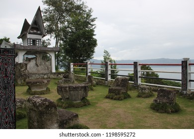 stone monuments on the island of Samosir in Indonesia