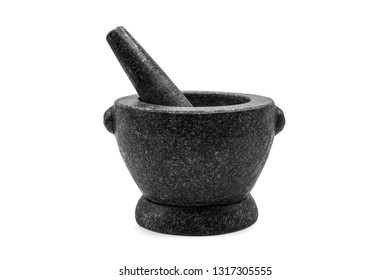 Stone Mortar & Pestle isolated on white background with clipping path.Stone mortar is an important tool in making chili curry in Thai food.