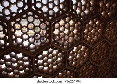 Stone mosaic lattice window at  Amber Fort near  Jaipur, Rajasthan, India