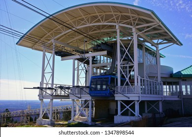 STONE MOUNTAIN, GEORGIA, USA - MARCH 19, 2019: Mountain station of Summit Skyride. High-speed Swiss cable car on top of Stone Mountain, 1,686 feet (514 m) above sea level.