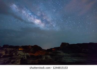 Stone mountain view with Milky way as lake at sam phan bok at Ubon Ratchathani, Thailand