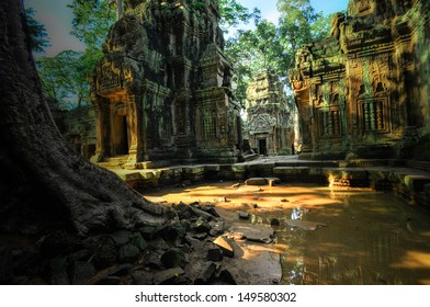 Stone murals and sculptures in Angkor wat, Cambodia the impressive temples near siem reap build by the red khmer civilisation.