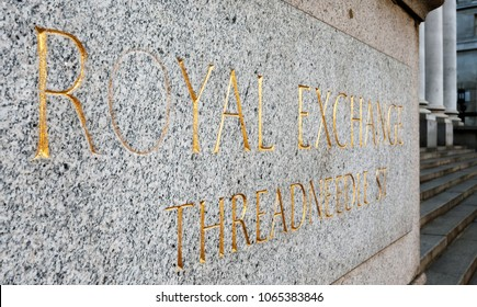 Stone name plate of The Royal Stock Exchange, London.