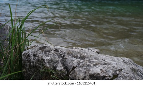 stone on the shore of the lake, rock