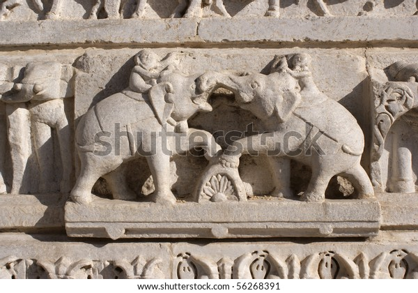 Stone ornament at Hindu temple in Udaipur