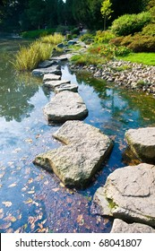 Stone path in a japanese water garden