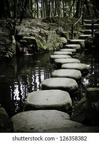 stone path in a japanese zen temple garden