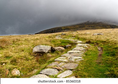 Stone path in the mountains of snowdonia, Wales