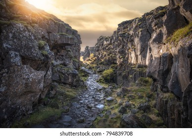 Stone pathway near the continental divide at Thingvellir Iceland