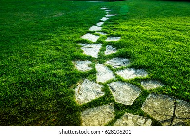 Stone Pathway on green grass